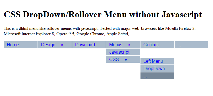 CSS Menu without JavaScript, Pure-CSS, Hidden, Mouseover-Effect